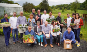 Winners and chefs of the 2019 Euro-Toques Ireland Food Awards displaying their winning produce
