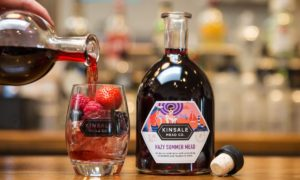 A bottle of Kinsale Mead Co's Hazy Summer Mead beside a glass of mead filled with mixed berries