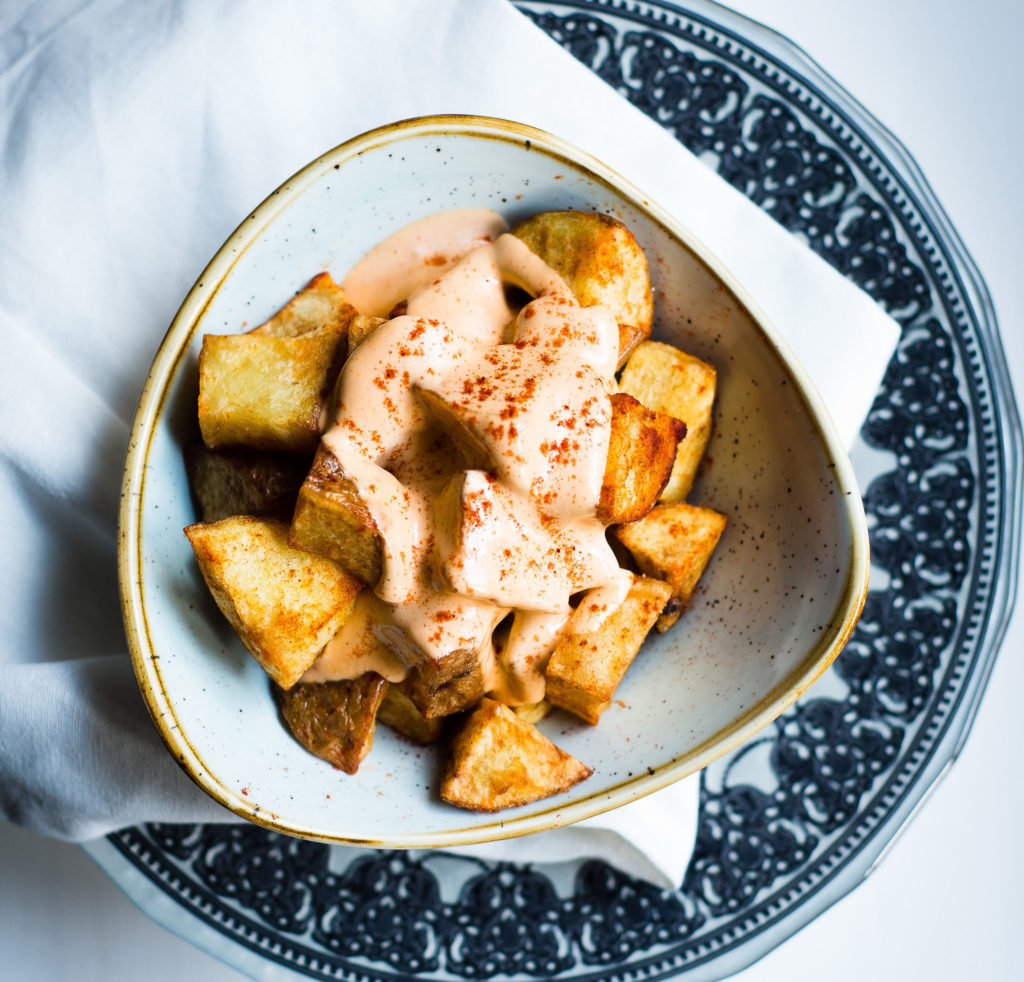 A plat of Patatas Bravas from Cava Bodega, Galway