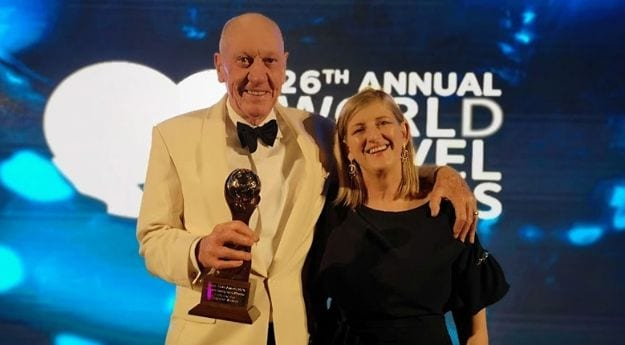 Neville Isdell of Epic Museum, Dublin, picking up the award for Europe's Leading Tourist Attraction at the World Travel Awards 2019.