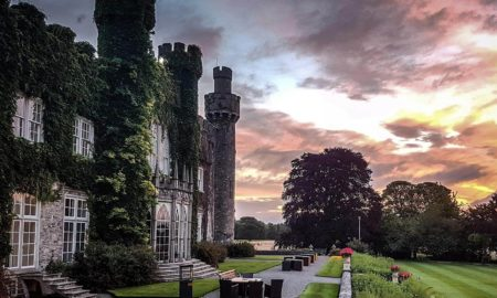 An outside view of Luttrellstown Castle in the evening