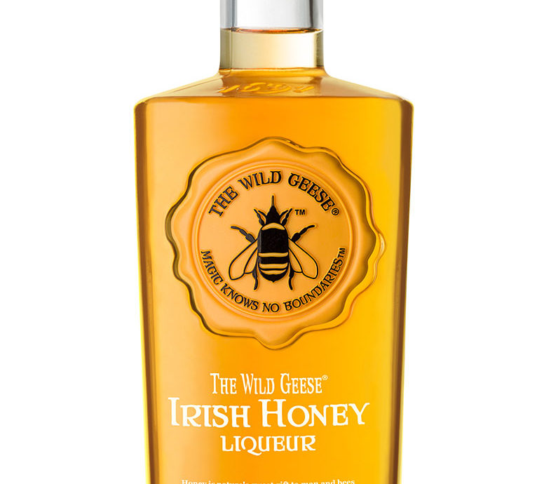 A pack shot of The Wild Geese Irish Honey Liqueur.