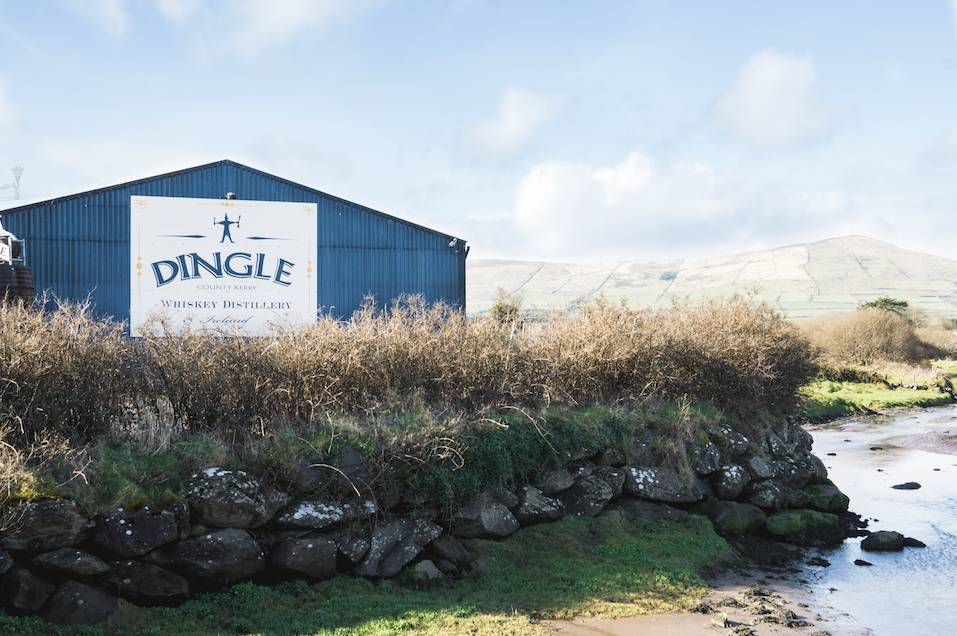 An outside view of the Dingle Distilery in Co. Kerry, Ireland, on a sunny day